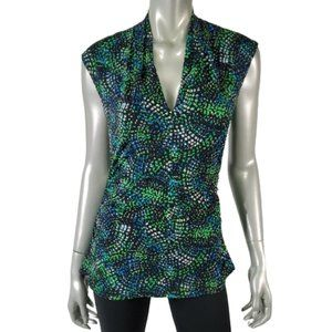 Vince Camuto Top Medium Ruched Sides Stretch Green